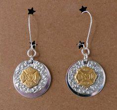Gold/Silver Firefighter Maltese Cross Earrings | Shared by LION