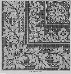 Tischdecke---can also do in filet crochet Cross Stitch Borders, Cross Stitch Charts, Cross Stitch Designs, Cross Stitching, Cross Stitch Patterns, Filet Crochet Charts, Crochet Borders, Crochet Cross, Crochet Home