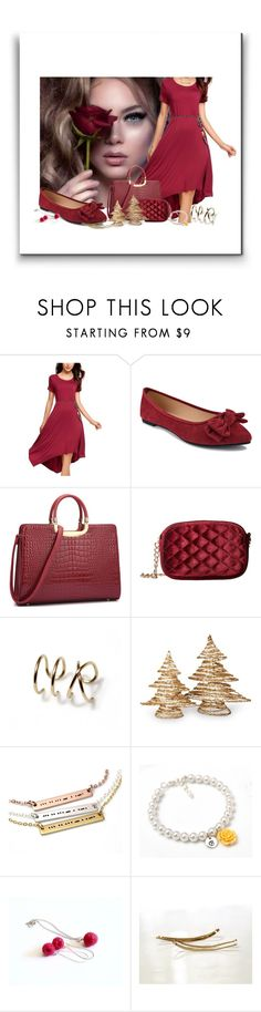 """""""Burgundy color"""" by treasury ❤ liked on Polyvore featuring Jessica McClintock and National Tree Company"""