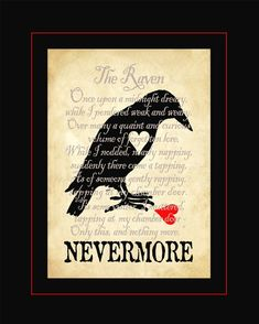 Nevermore My Heart digital print of broken hearted raven and Poe poetry