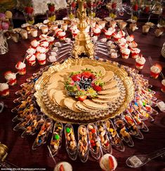 Indian wedding food table ideas http maharaniweddings for Annakut decoration ideas