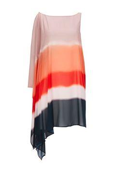 Coral Ombre One Shoulder Dress