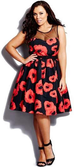 Plus Size Party Dress - Plus Size 'Super Poppy' Belted Illusion Yoke Fit & Flare Dress - Plus Size Cocktail Dress