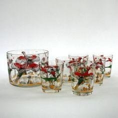 Mid Century Barware Set Glasses Tumblers Ice Bucket Hunting Birds $105.00