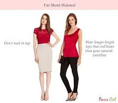 Don't tuck in top Wear longer length tops that end lower than your natural waistline Continue reading here: Tips & Tricks to Dressing Short-Waisted Body Type Short Legs Long Torso, Short Waist, Winter Outfits, Summer Outfits, Flattering Outfits, Hippy Chic, Petite Women, Summer Looks, Outfits