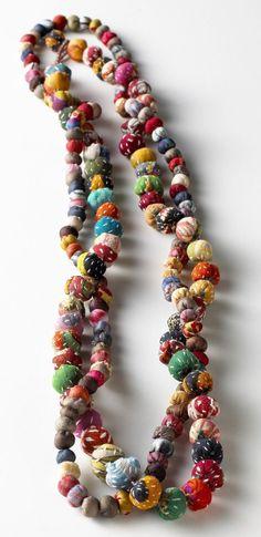Silk Sari Bead Necklace - each bead is handmade from vintage recycled silk sari fabric