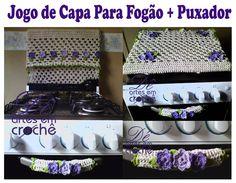 Jogo de Capa pra Fogão Dupla-face e Puxador em Crochê by Dê Artes em Crochê