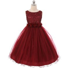 48.00$  Watch now - http://viymg.justgood.pw/vig/item.php?t=menfly14943 - Burgundy Sequin Top Tulle Flower Girl Dance Holiday Bridesmaid Birthday Dresses 48.00$