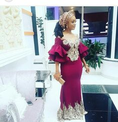 An is a wedding guest {bella} looking stunning in aso-ebi – the fabric/colors of the day, at a - AsoEbi Bella. May 2020 African Party Dresses, African Lace Dresses, African Fashion Dresses, African Clothes, Ankara Fashion, African Attire, African Wear, African Style, African Tops