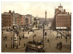 O'Connell Street, Dublin. This street is Dublin's main thoroughfare and prior to 1924 it was known as Sackville Street. Dublin Street, Dublin City, Old Pictures, Old Photos, Vintage Photos, Images Of Ireland, Ireland Pictures, Photo Engraving, Most Haunted