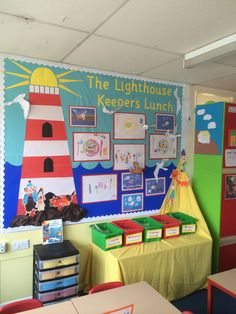 Lighthouse keepers lunch! Class Displays, School Displays, Classroom Displays, Seaside Theme, Sea Theme, Nautical Theme, Education And Literacy, Primary Education, Teaching Resources
