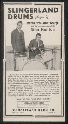 1942 Stan Kenton Photo Slingerland Drum Set Print Ad | eBay
