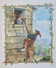 """Rapunzel"" by Tasha Tudor. Illustration to be found in the ""Tasha Tudor Book of Fairy Tales"" (Platt and Munk, 1969)."