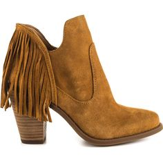 Jessica Simpson Women's Cecila - Honey Brown Split Suede ($130) ❤ liked on Polyvore featuring shoes, brown, round cap, high heel shoes, suede leather shoes, leather upper shoes and fringe high heel shoes