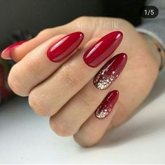 Red gel nails with sparkle accent red shellac nails, hot nails, matte Red Shellac Nails, Sparkle Gel Nails, Red Acrylic Nails, Hot Nails, Glitter Nail Art, Polish Nails, Accent Nail Glitter, Red Nails With Glitter, Red Manicure