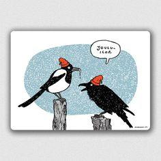 Lintuset jouluaamuna -kortti