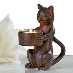 Candelabro de madera gato sentado