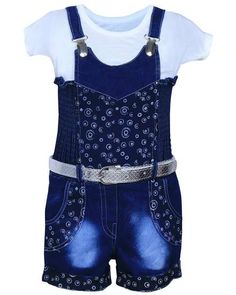 Buy MPC Cute Fashion Baby Girls Jeans dungaree Jumpsuit (Jeans_jumpsuit _22_Blue_18-24 Months) online shopping India | Girls Clothing | best price 580.00