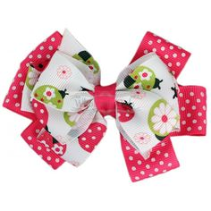 Hot Pink Ladybug Hair Bow