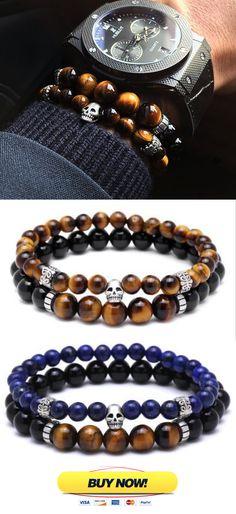 Mens beaded bracelet Set ( 2 Bracelet ) Skull Bracelet, Tiger eye bracelet. Free Worldwide Shipping.