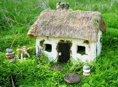 Cottage...many items could be recycled for the foundation of this fairy cottage. Paper mache, those Styrofoam things found inside items purchased or shipped, a shoe box, and easy solutions found in your home can likely give it long lasting power to prevent it from ruining in rain or other elements.