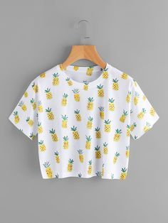 SheIn offers Pineapple Print Tee & more to fit your fashionable needs. SheIn offers Pineapple Print Tee & more to fit your fashionable needs. Crop Top Outfits, Cute Casual Outfits, Cute Summer Outfits, Girls Fashion Clothes, Teen Fashion Outfits, Girl Outfits, Fashion Ideas, Fashion Styles, Clothes Women
