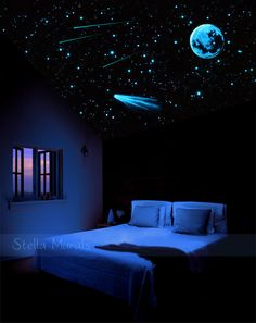 Star Ceiling | Glow in the Dark Star Stickers 400-1000 | Moon Decal, Comet Decal…