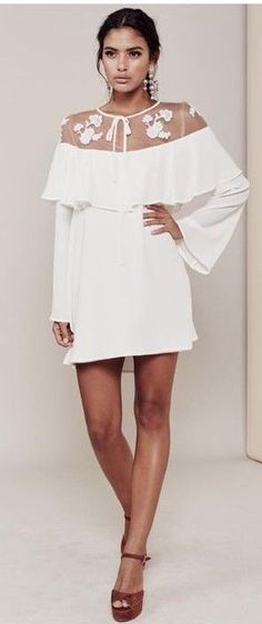 Lacey Tulle Neckline Elenora Mini Dress | ForLoveAndLemeons