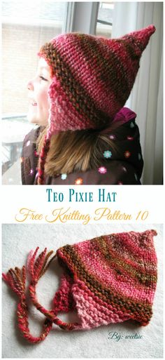 Kids Pixie Hat Free Knitting Patterns: collection of knitted pixie hat for baby and kids, collared pixie, pixie beanie, gnome pixie, Christmas tree pixie. Knitting For Kids, Easy Knitting, Crochet Socks, Knitted Hats, Crochet Gifts, Pixie, Poncho Knitting Patterns, Baby Patterns, Free Pattern