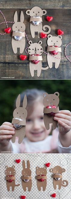 Kids Valentine's Candy Huggers. Free template at www.liagriffith.com #Valentine #candywrapper #kidsdiy