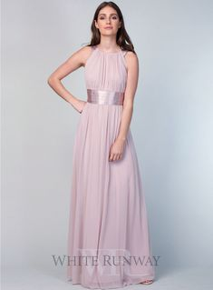 Ophelia Dress. A gorgeous full length length dress by Zaliea. A high neckline style with a cinched in ruched waistline to give you a flattering shape and flowy chiffon skirt.