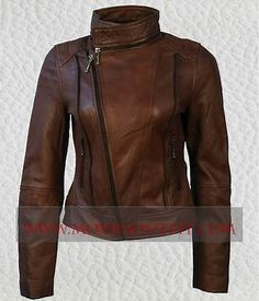 Ladies Ella Short Leather Sheepskin Jacket Brick