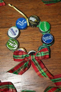 Upcycled Beer Bottle Cap Christmas Ornament by tadaworkshop; could use Coke caps too! For Shawn! Beer Cap Crafts, Bottle Cap Crafts, Beer Bottle Caps, Beer Caps, Beer Bottles, Holiday Crafts, Holiday Fun, Holiday Quote, Thanksgiving Holiday