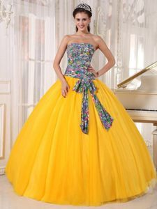 Unique Strapless Quinceanera Gown Dresses with Bowknot and Printed Fabric