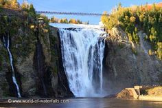 Montmorency Falls is a spectacular, and easy to visit waterfall. 30 meters higher than Niagara Falls, this is one of the most impressive waterfalls in North America. List Of Countries, Quebec City, Beautiful Places, Amazing Places, Niagara Falls, North America, The Good Place, Canada, World