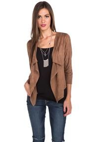 Faux Suede 3/4 Sleeve Open Jacket
