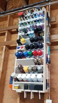 Garage Workshop Organization, Garage Tool Storage, Workshop Storage, Garage Tools, Shed Storage, Diy Storage, Basement Storage, Storage Ideas, Spray Paint Storage