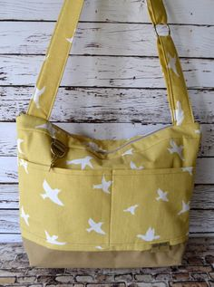 Camera bag Swallows on Cotton in Yellow & tan by DarbyMack on Etsy