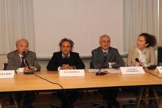 I relatori al tavolo della conferenza di presentazione della mostra