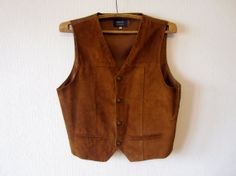 Camel Brown Mens Vest Genuine Suede Leather by ThousandVests, $32.00