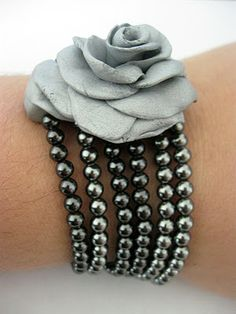 Clay rose multistrand bracelete - this is a clever idea!