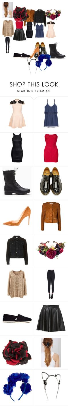 """""""Untitled #7232"""" by coolkitymecool ❤ liked on Polyvore featuring River Island, MANGO, Hervé Léger, Dr. Martens, Christian Louboutin, Givenchy, Dolce&Gabbana, TOMS, Alessandra Rich and JAKIMAC"""