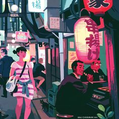 "Omoide Yokocho (otherwise known as ""Memory Lane"" or ""Piss Alley"") for Light Grey Art Lab's In Place show. Buy a print here! Omoide Yokocho is a series of slim, cramped alleyways in Shinjuku, packed..."