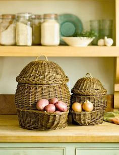 Potato and Onion Storage Baskets ~ 30 lbs of potatoes, 6 lbs onions, for the formidable price of $49.95... Sized Wicker baskets and zip ties, perhaps?