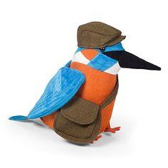 Alcedo The Kingfisher Doorstop By Dora Designs Bye Bye Birdie, Door Stop, Bird Design, Kingfisher, Decoration, Dinosaur Stuffed Animal, Folk, Wildlife, Cushions
