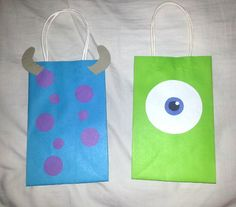 Sulley and Mike Wazowski inspired goodie bags.  Monsters University party