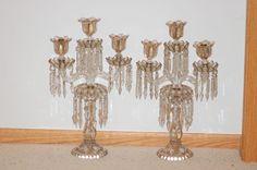 Pair Baccarat Glass Candelabra 1850 - 1900