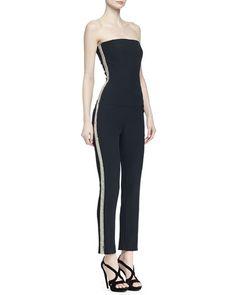 Alexander McQueen Strapless Beaded-Stripe Jumpsuit