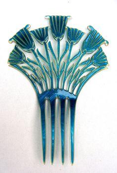 Egyptian Revival hair comb art deco turquoise by ElrondsEmporium