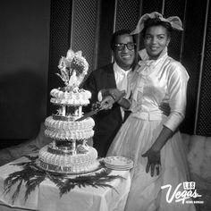 Sammy Davis Jr and Loray White wedding at the Sands in Las Vegas on 01/10/1958. Photo credit: Las Vegas News Bureau #weddings #WeddingWednesday